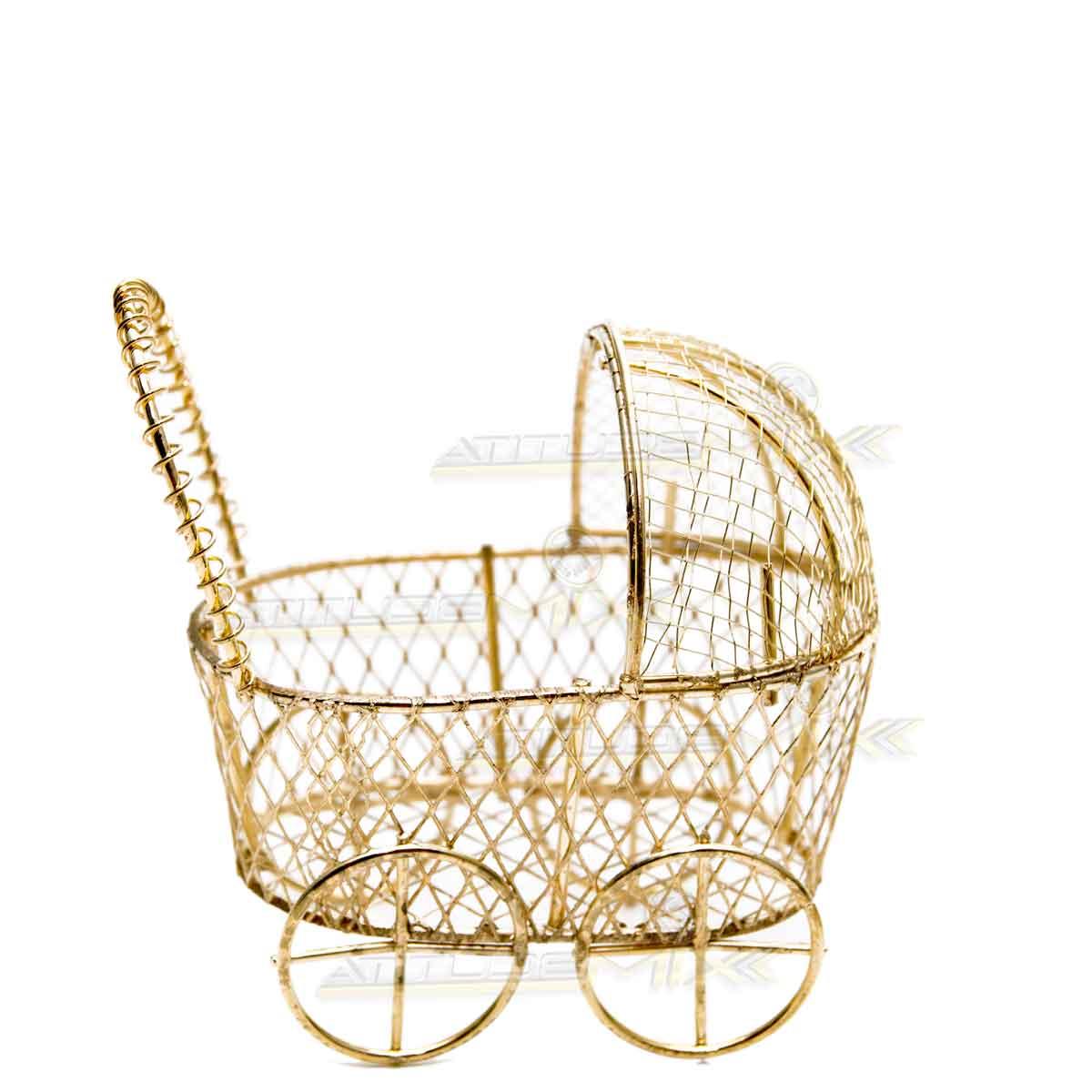 Kit 12 Mini Carrinhos Bebê Aramados Dourados Lembrancinhas