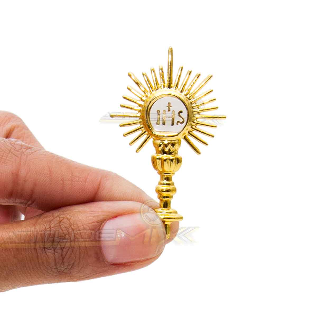 Kit Com 12 Ostensórios Dourados Batizados Primeira Comunhão