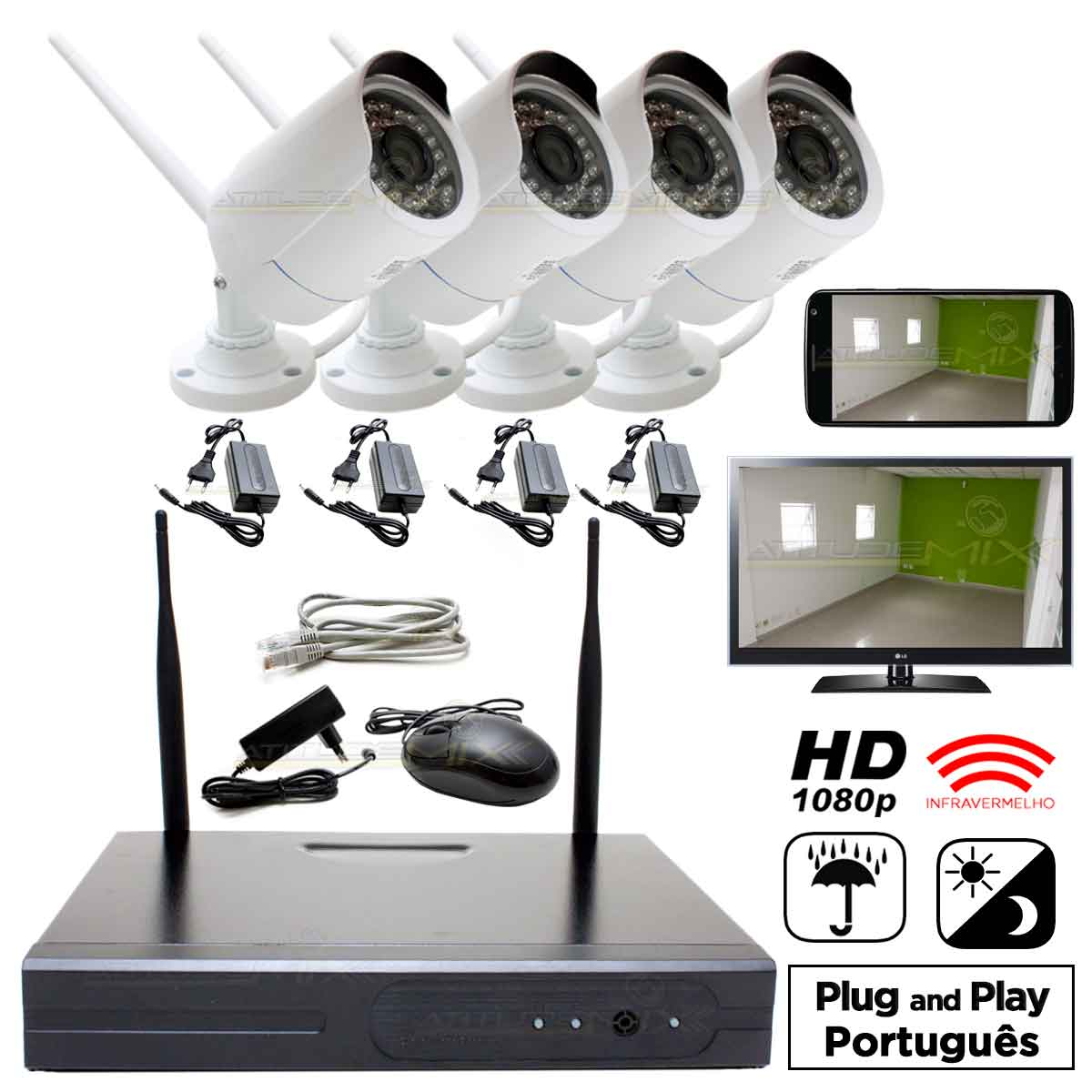 Kit Nvr 4 Câmeras 1.3mp Infra Wi-fi 100m Hd 1080p P2p Cftv