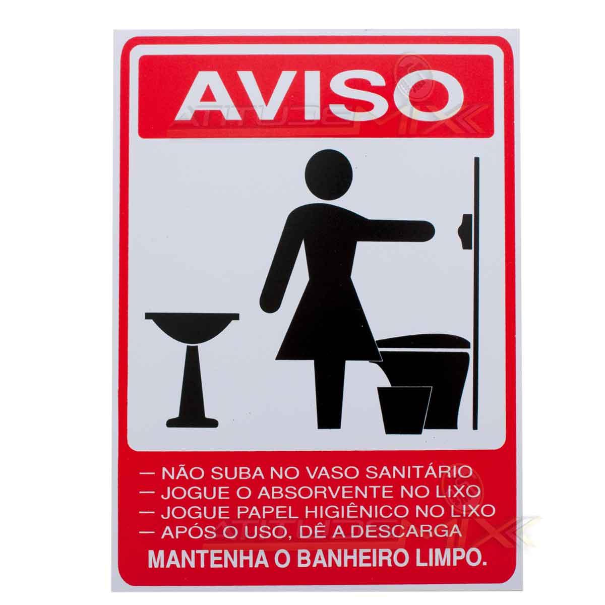 Placa Aviso Advertência Banheiro Feminino