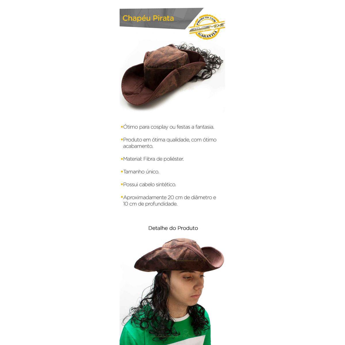 Chapéu Pirata Com Cabelo Sintético Cosplay Festa Fantasia