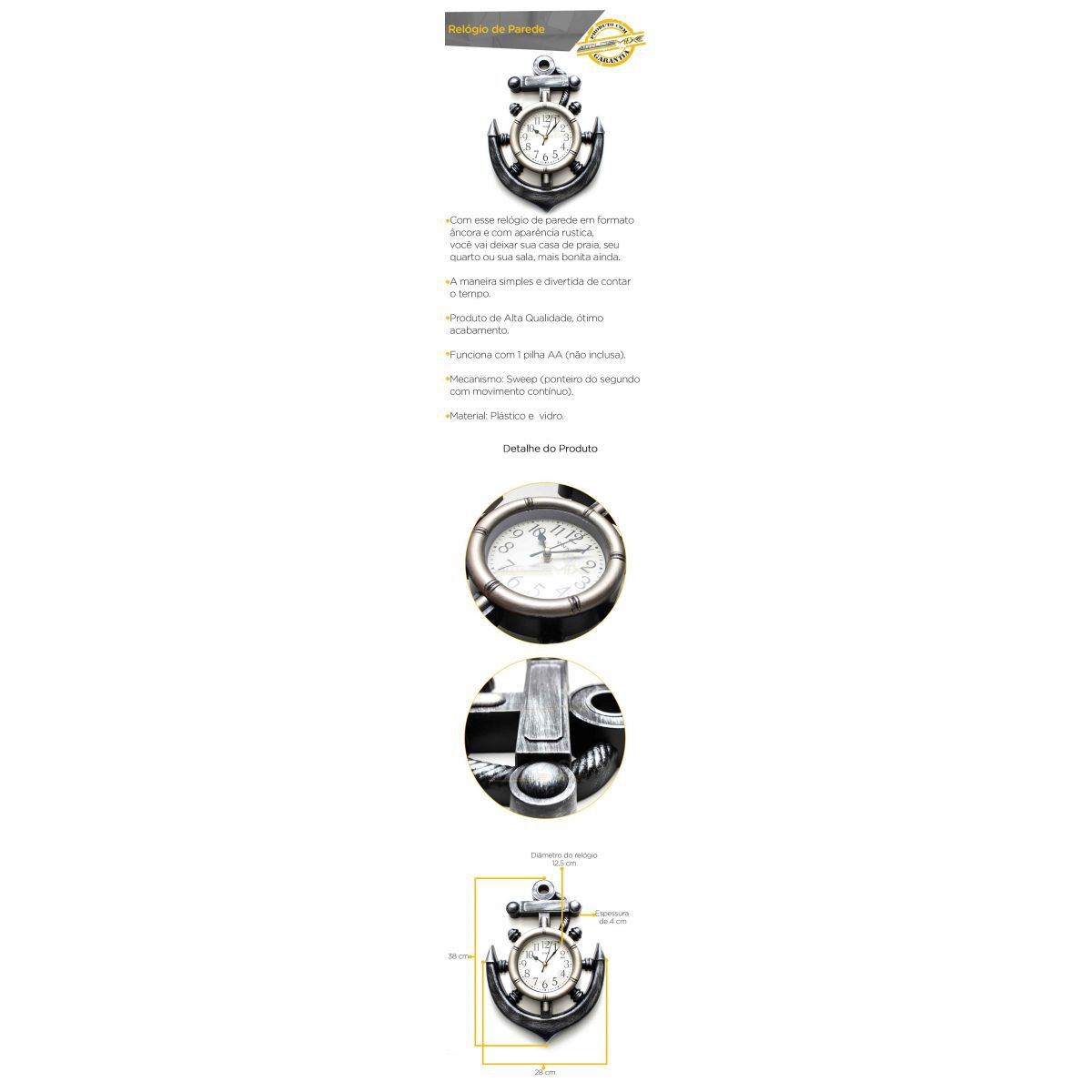 Relógio De Parede Âncora Timão Leme Decorativo Quarto Sala