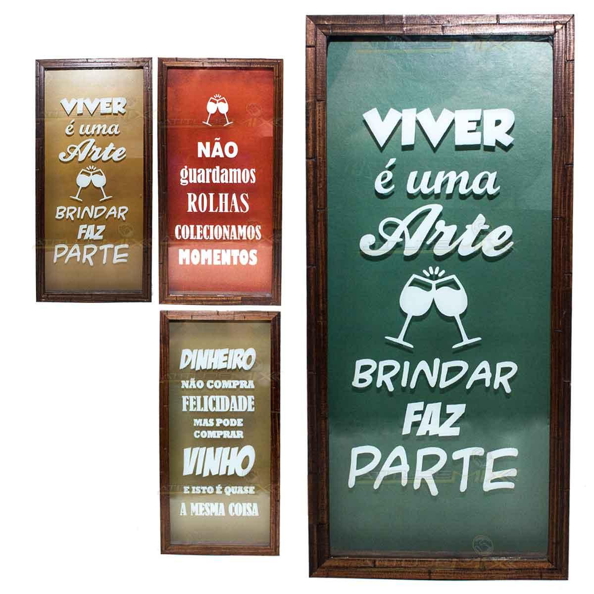 Quadro Porta Rolha Vinho Madeira Mdf Decoração 25x55cm