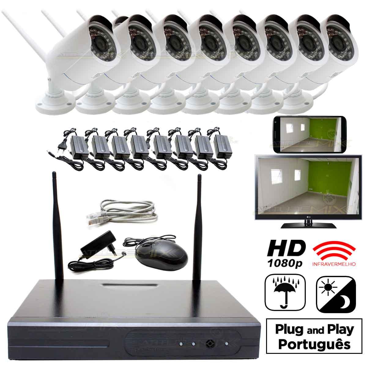 Kit Nvr 8 Câmeras 1.3mp Infra Wi-fi 100m Hd 1080p P2p Cftv