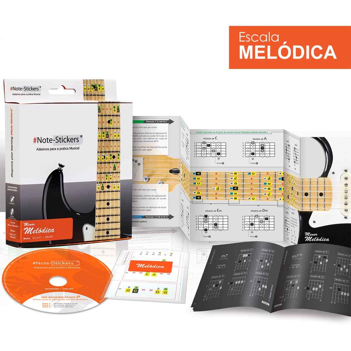 Adesivos Note-stickers Escala Melódica Guitarra Violão Aço