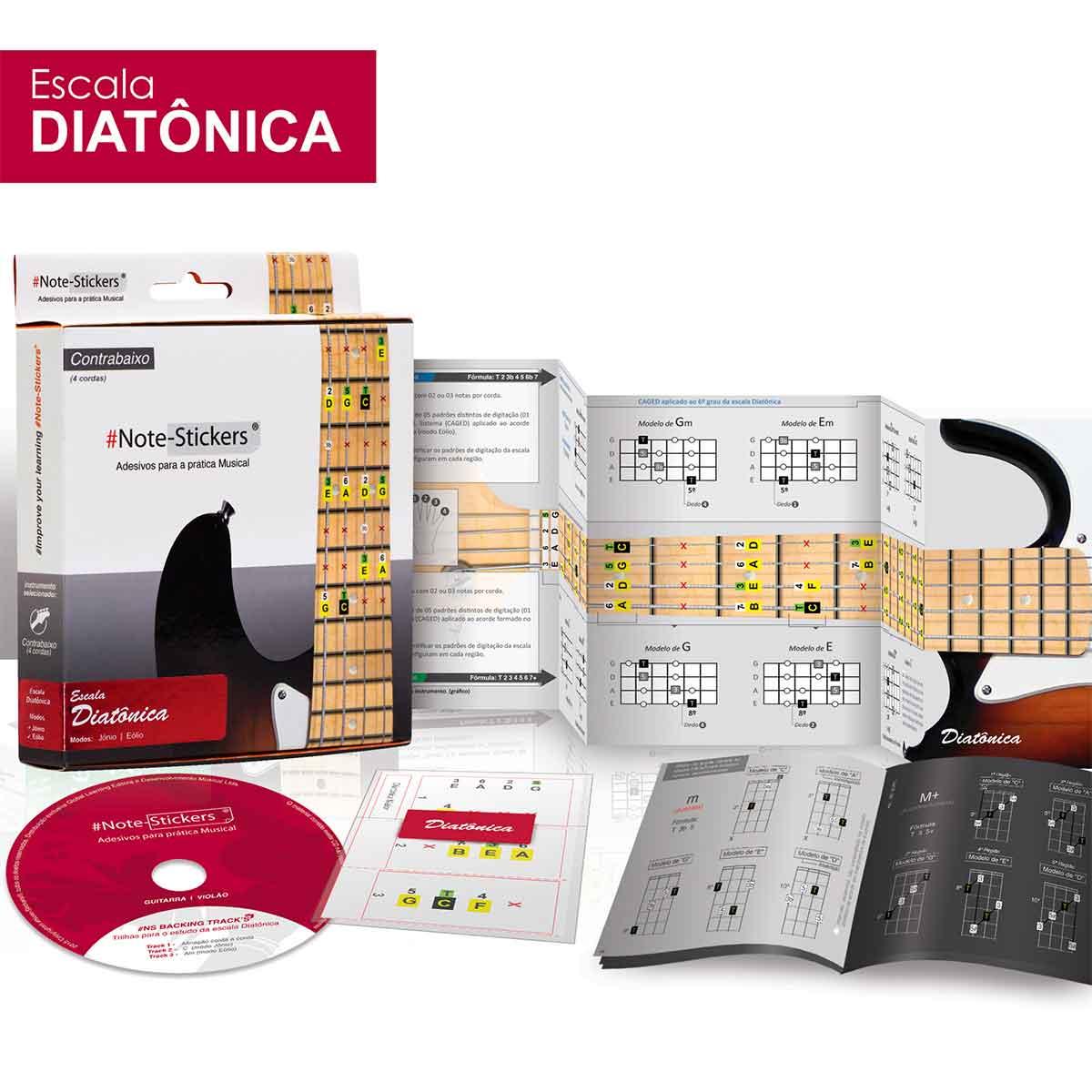 Adesivos Note-stickers Contrabaixo 4 Cordas Escala Diatônica