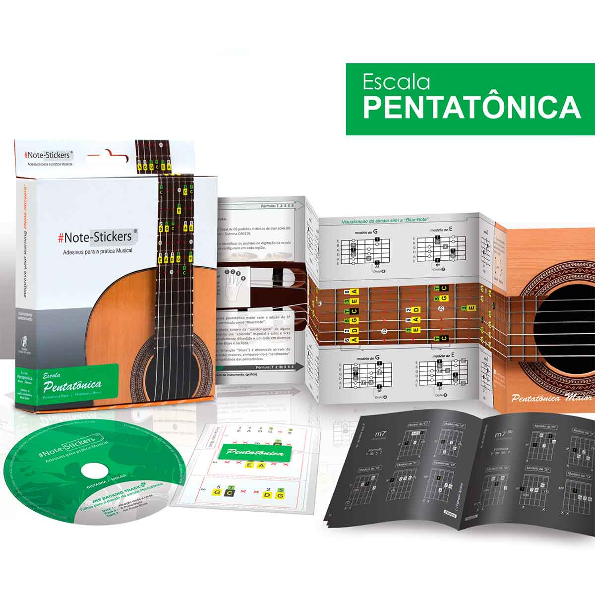 Adesivos Note-stickers Escala Pentatônica Para Violão Nylon