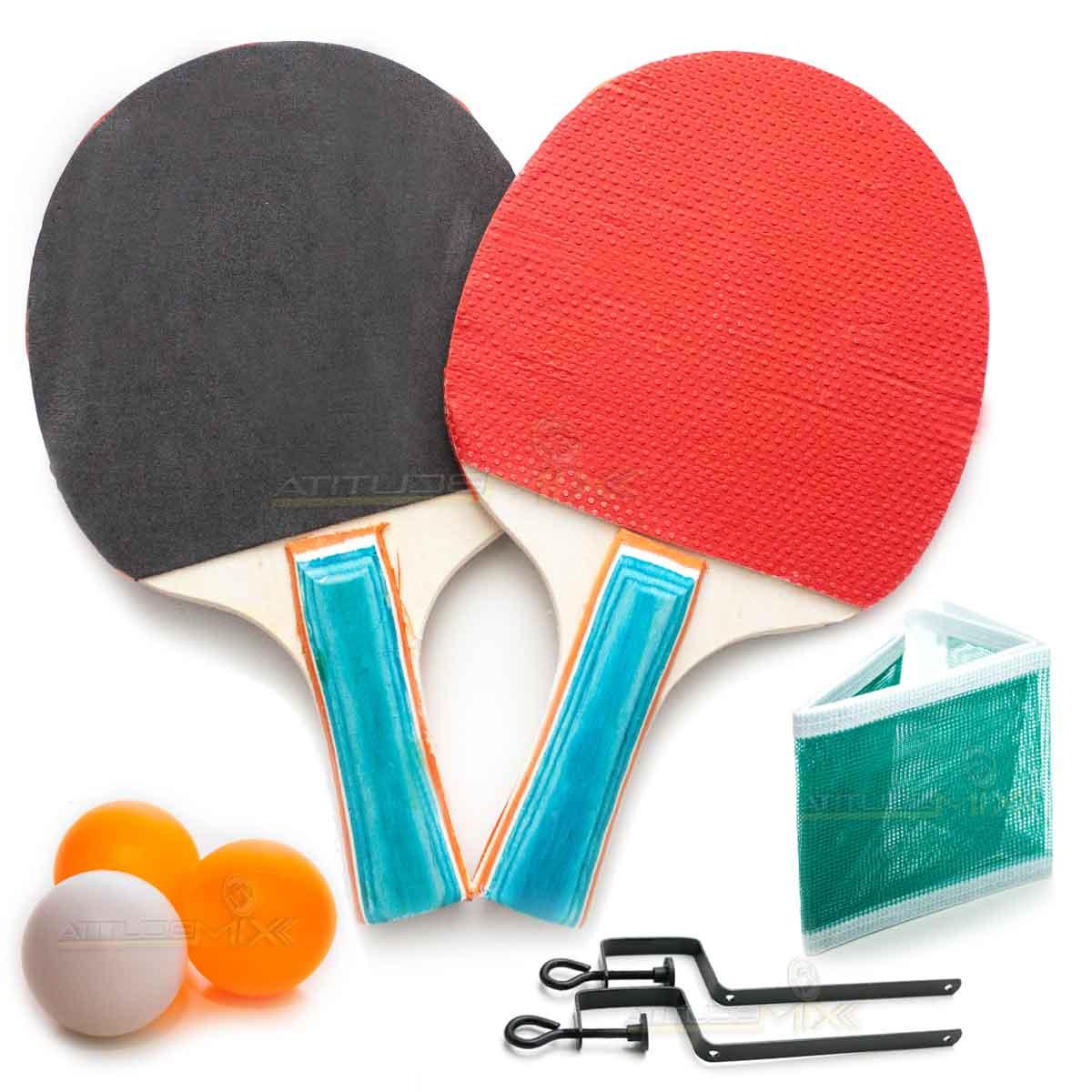 574e4e77b Kit Ping Pong Tênis de Mesa Raquetes Suporte Rede Bolinhas - AtitudeMix