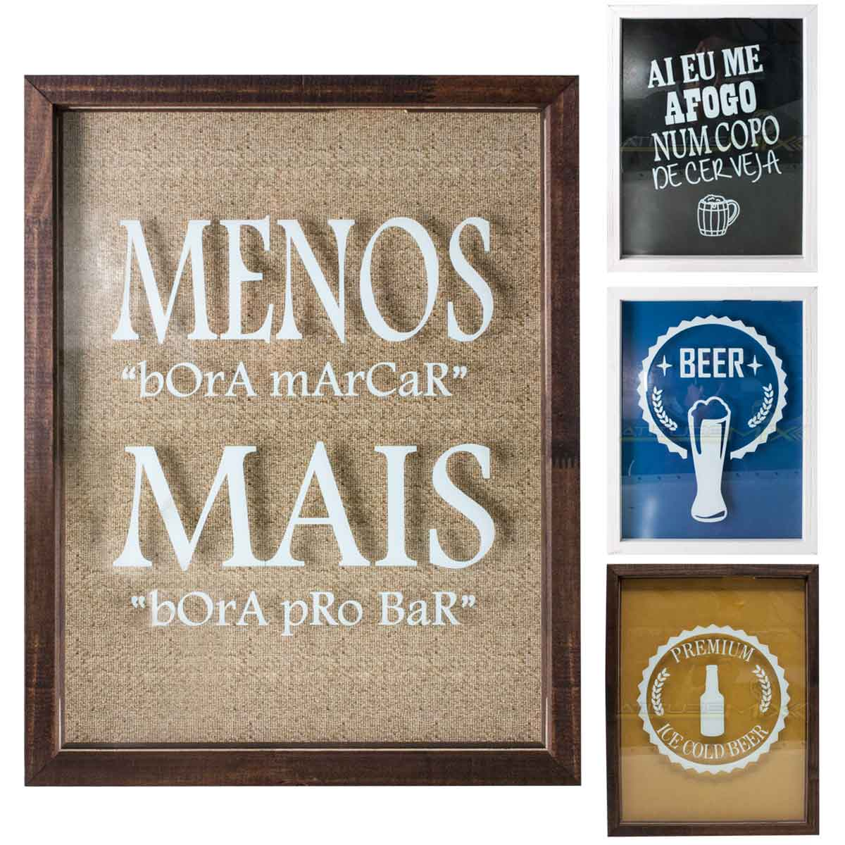 Quadro Porta Tampinhas Cerveja Madeira 42x32 Mdf Decoração