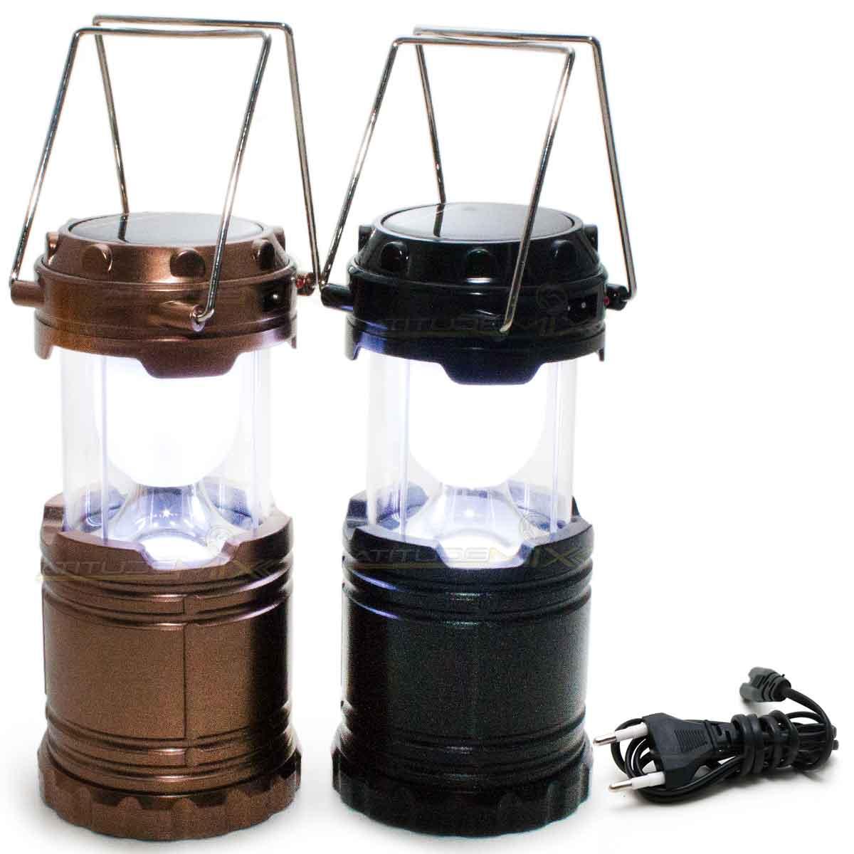 Lanterna Recarregável Luminária Solar Camping Alças Bivolt