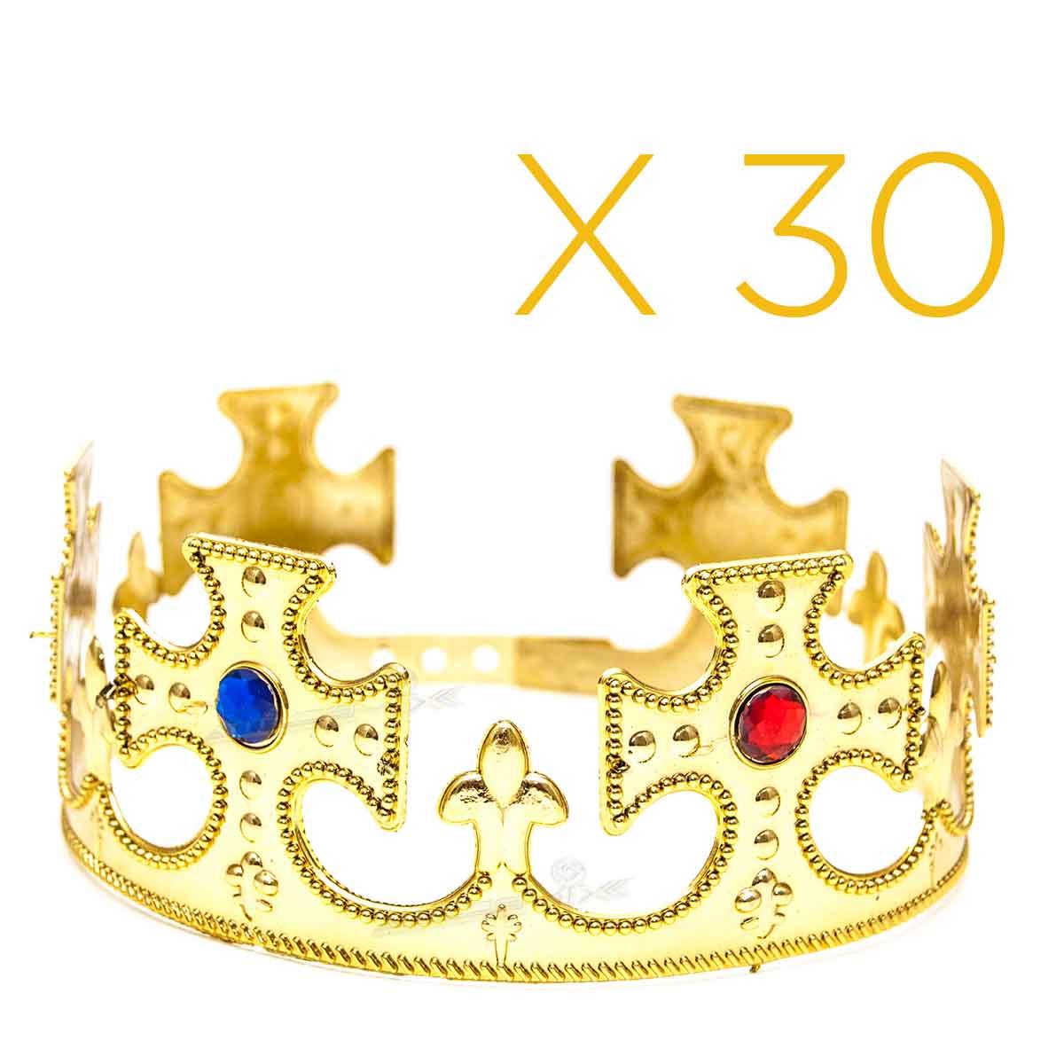 Kit 30 Coroas Rei Plástica Ajustável Festa Fantasia Cosplay