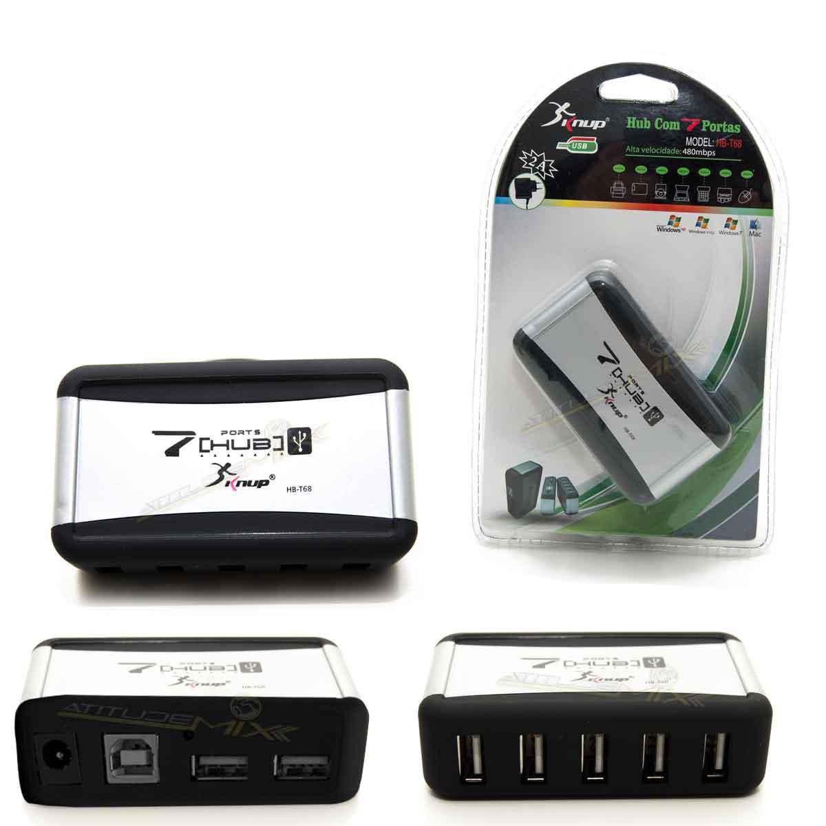 Hub Usb Com 7 Portas 2.0 Bi-volt Knup
