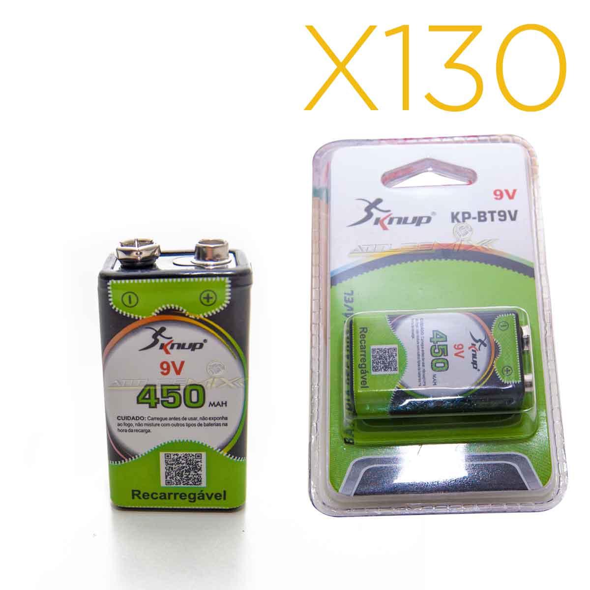 Kit 130 Baterias Recarregáveis 9v 450mah Knup Original