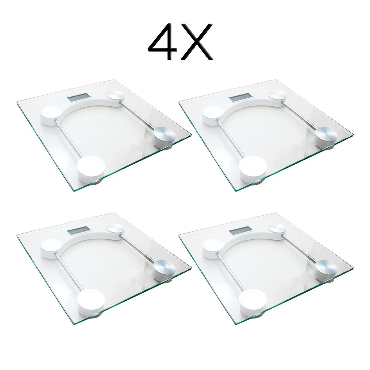 4x Balança Digital Quadrada Vidro Temperado Banheiro Academias