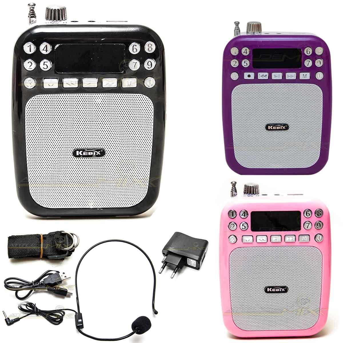 Amplificador Voz Portátil Microfone Auto Falante C/ Gravador
