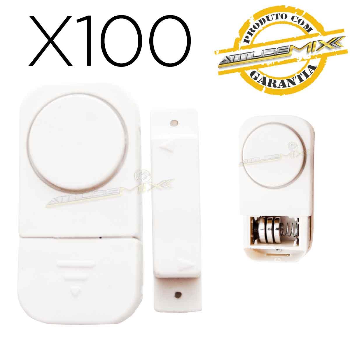 Kit 100 Alarmes Contra Invasão Sonoro Porta Janela Sem Fios