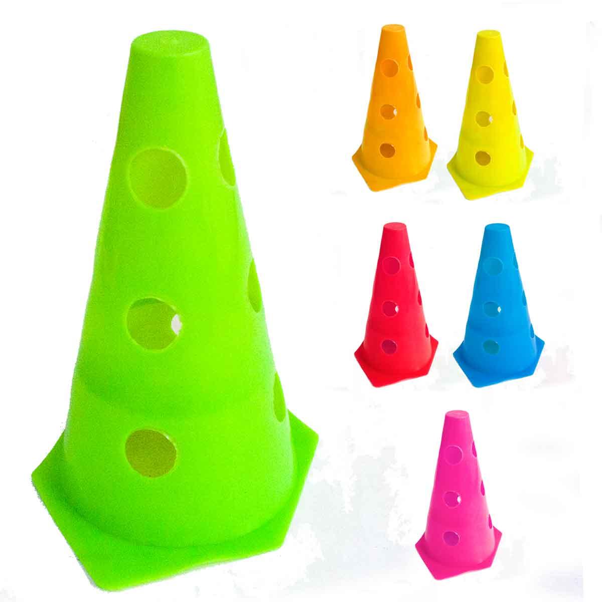 6x Mini Cone Sinalização Esportivo 23cm Agilidade furado