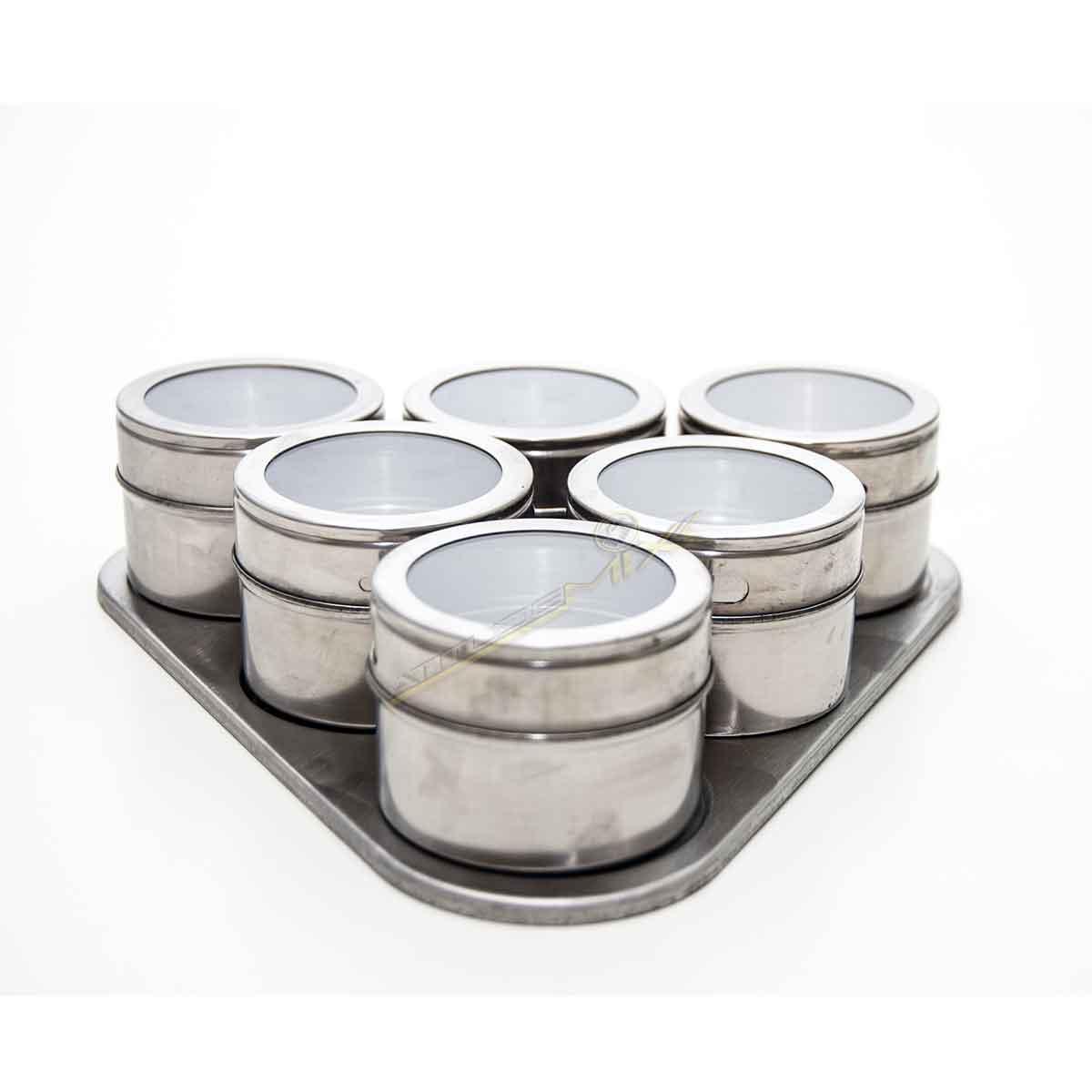 Porta Temperos E Condimentos Magnético Aço Inox 6 Potes