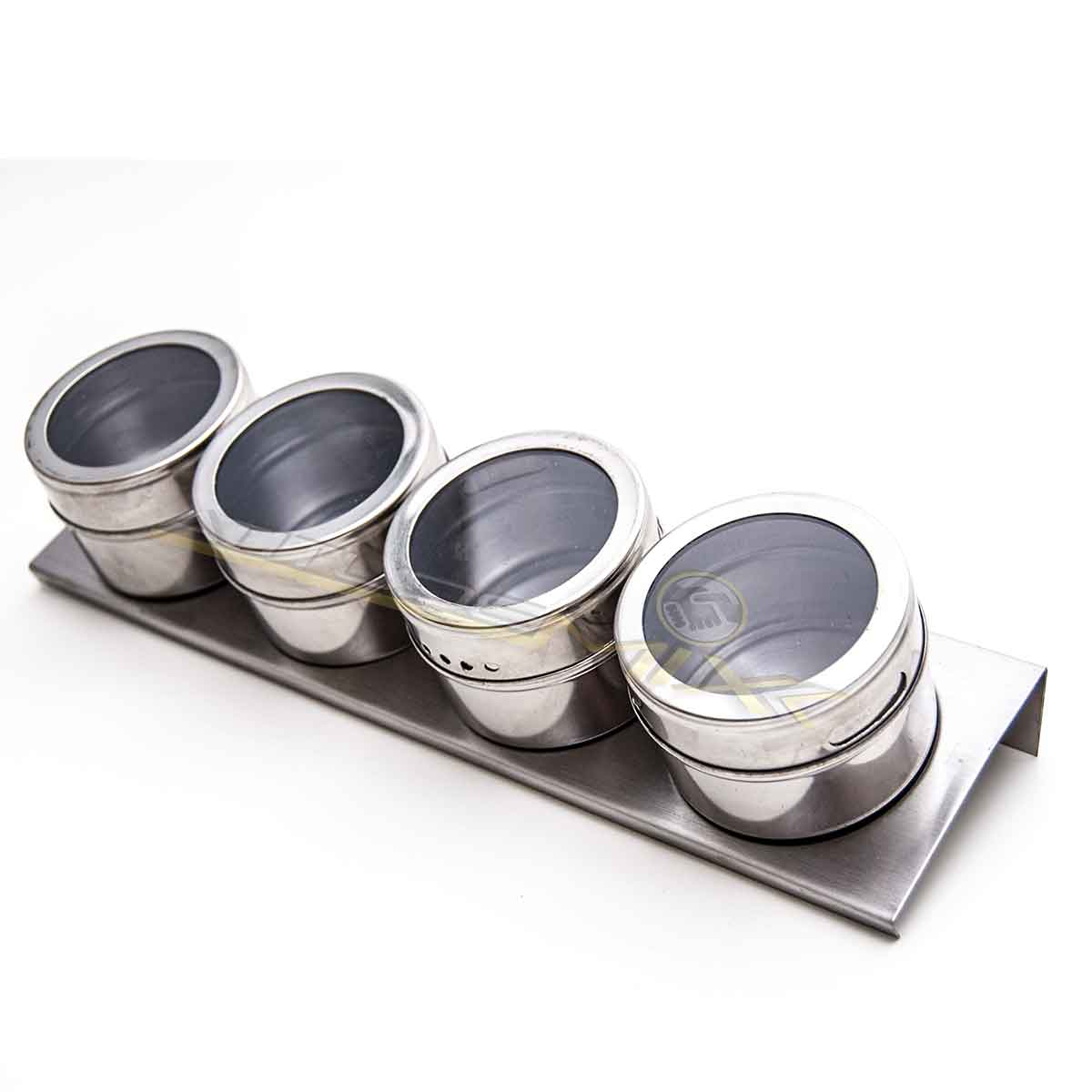 Porta Temperos E Condimentos Magnético Aço Inox 4 Potes