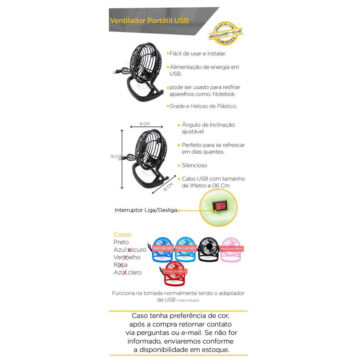 Mini Ventilador de Plástico Usb De Mesa Portátil Silencioso