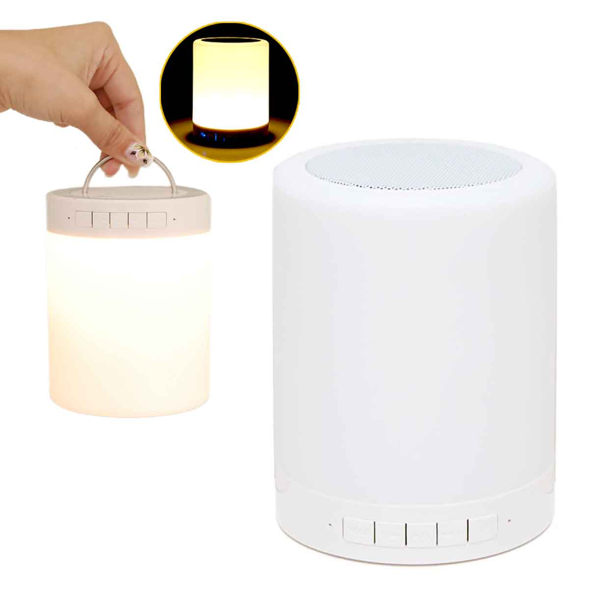 Caixa Som Bluetooth Abajur Luz Led Recarregável Aux Cartão
