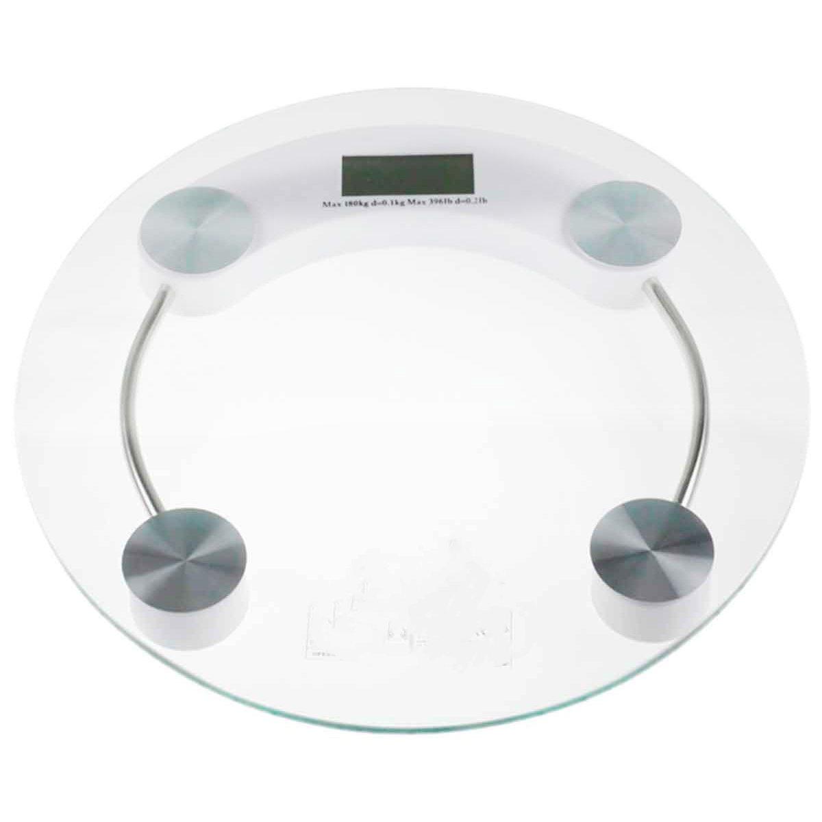 Balança Digital Redonda Vidro Temperado 180kg  Banheiros