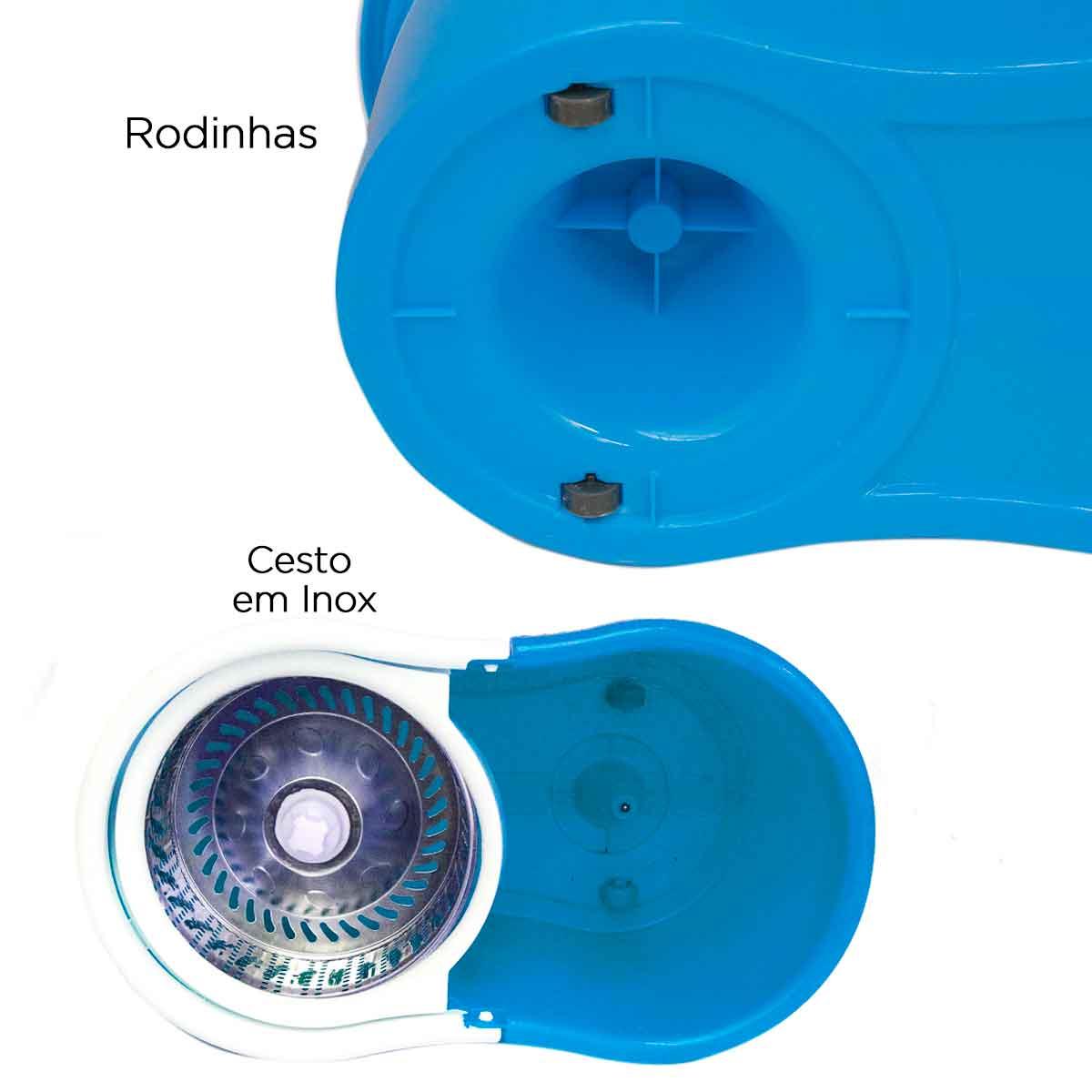 Balde Spin Mop 360 Centrifuga Cesto Inox Esfregão 16lt Refis