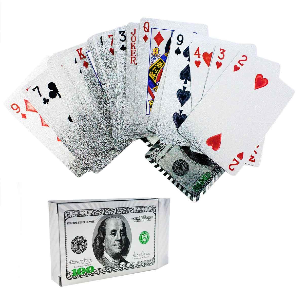 Baralho Poker Truco Dolar Prateado Cartas Prata Jogos