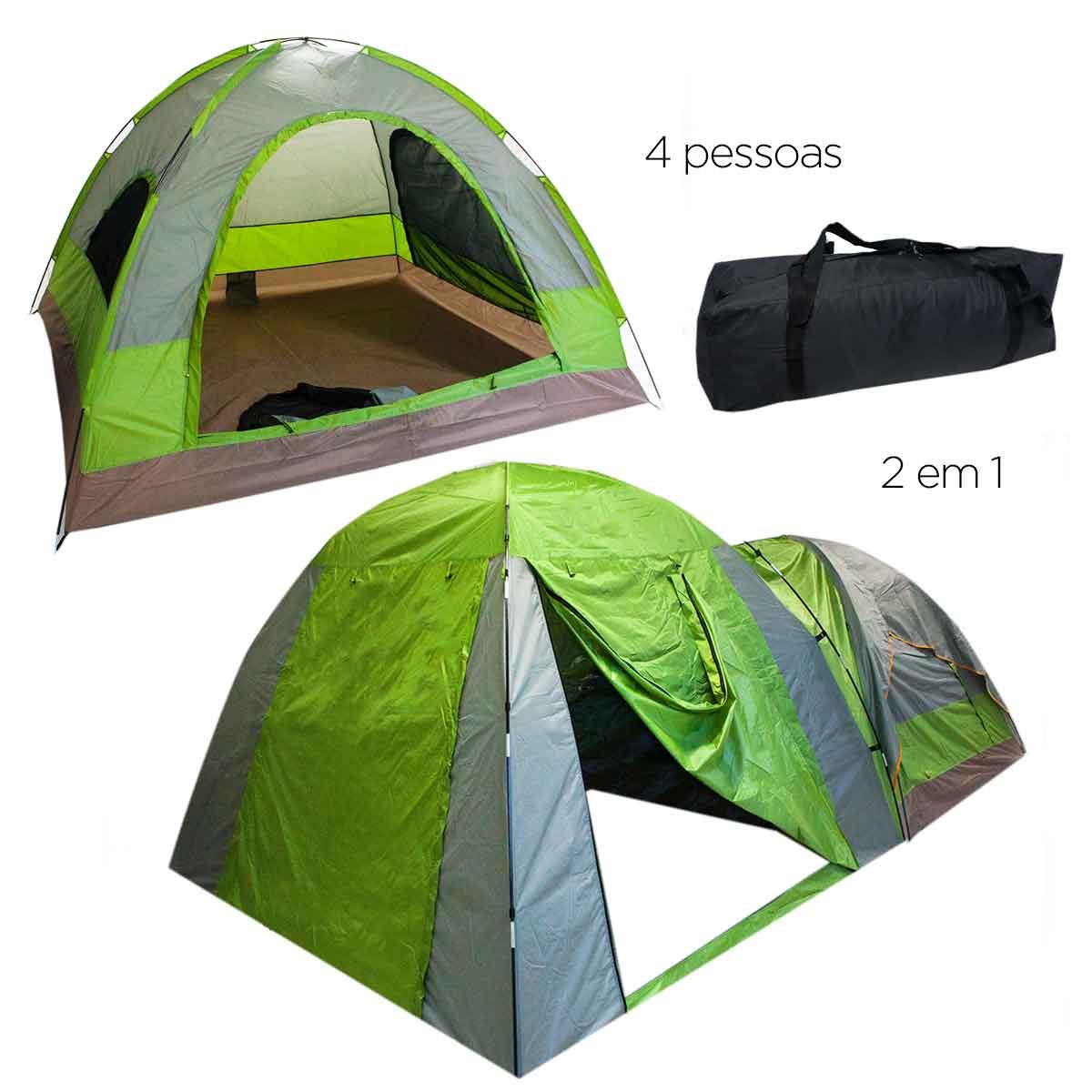 Barraca Camping 4 Pessoas Iglu Tenda Bolsa Acampamento 260cm