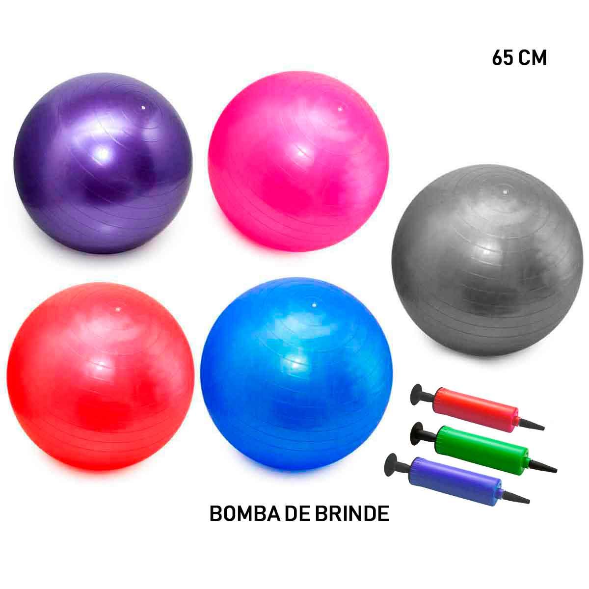 Bola Pilates Yoga Abdominal Ginastica Fitness 55cm C/ Bomba