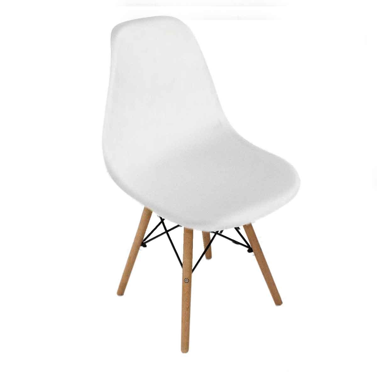 Cadeira Charles Eames Wood Design Branco Fosco Base Madeira