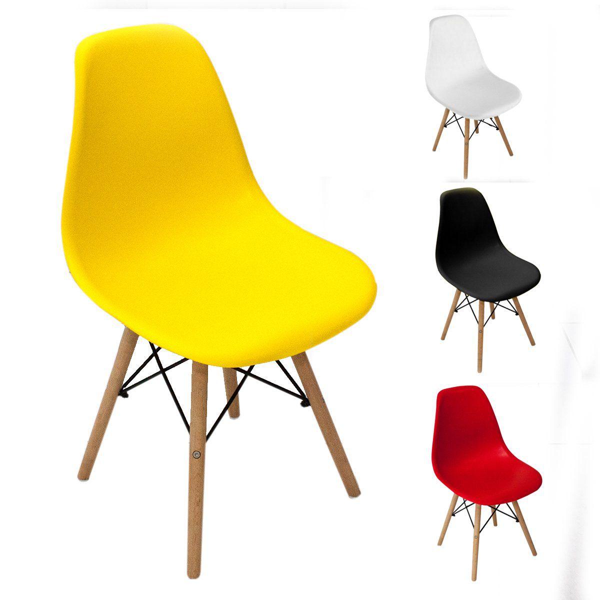 Cadeira Charles Eames Wood Design Cores Fosco Base Madeira