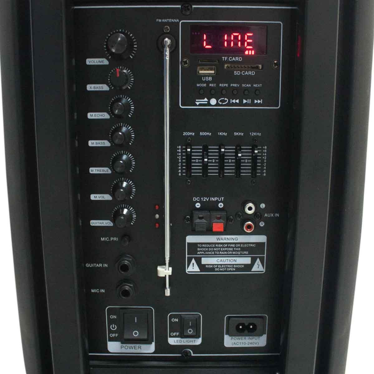 Caixa De Som Amplificada Bluetooth 200w Led Cartão Alça Usb