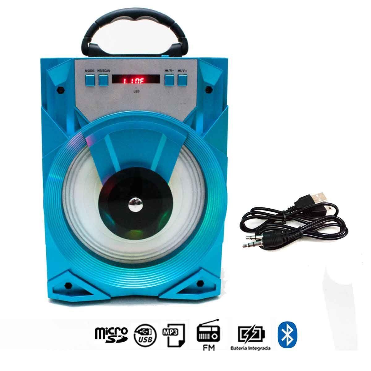 Caixa de Som Bluetooth Azul 15W LED Rádio FM USB Cartão