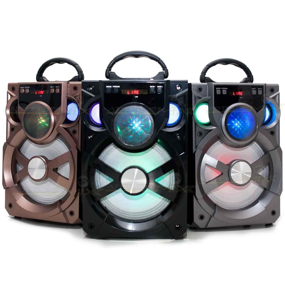 Caixa Som Amplificada Portátil Bluetooth Usb Cartão MP3