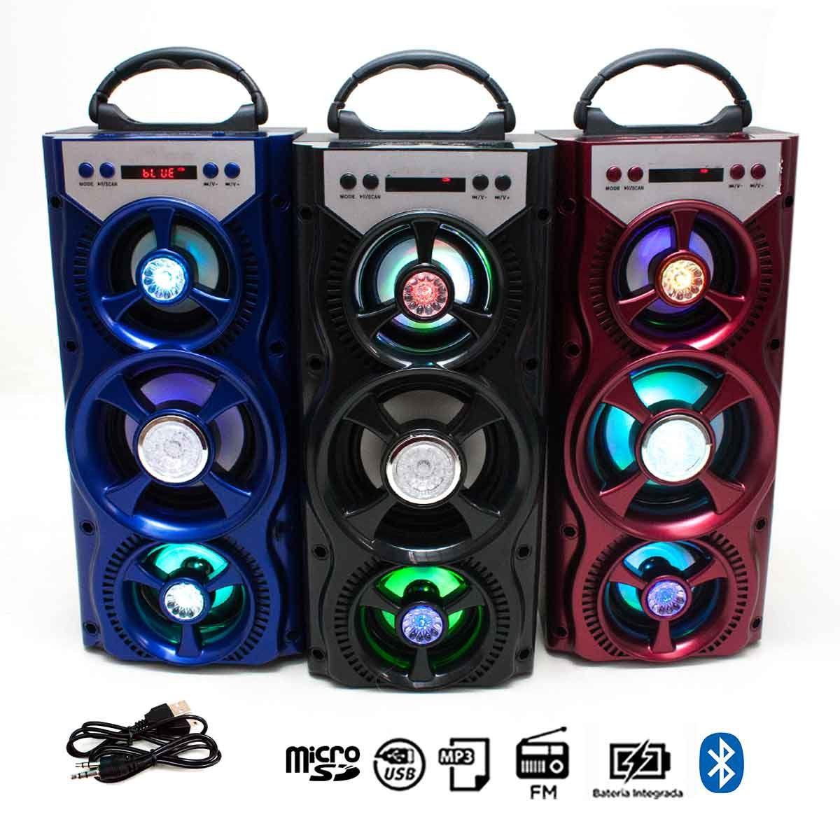 Caixa Som Bluetooth 10w Led Cartão SD Auxiliar Mp3 Mp4 Rádio