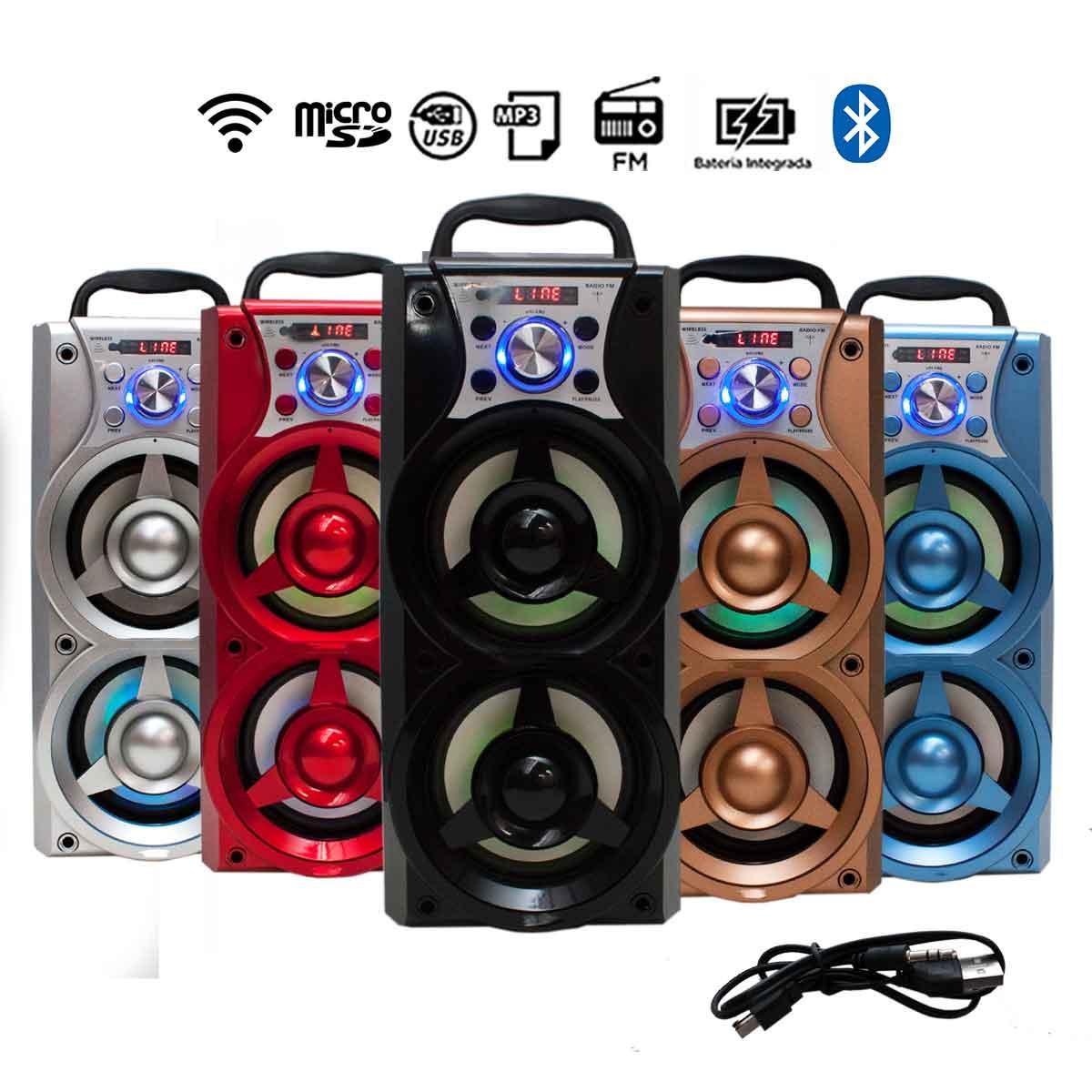 Caixa Som Portátil Wireless Bluetooth 5W Cartão Usb Rádio