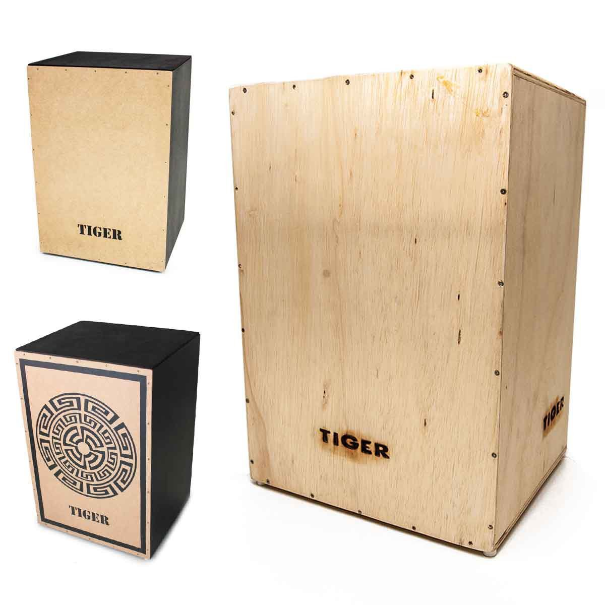 Cajon Reto Tiger Natural Tribal Acústico