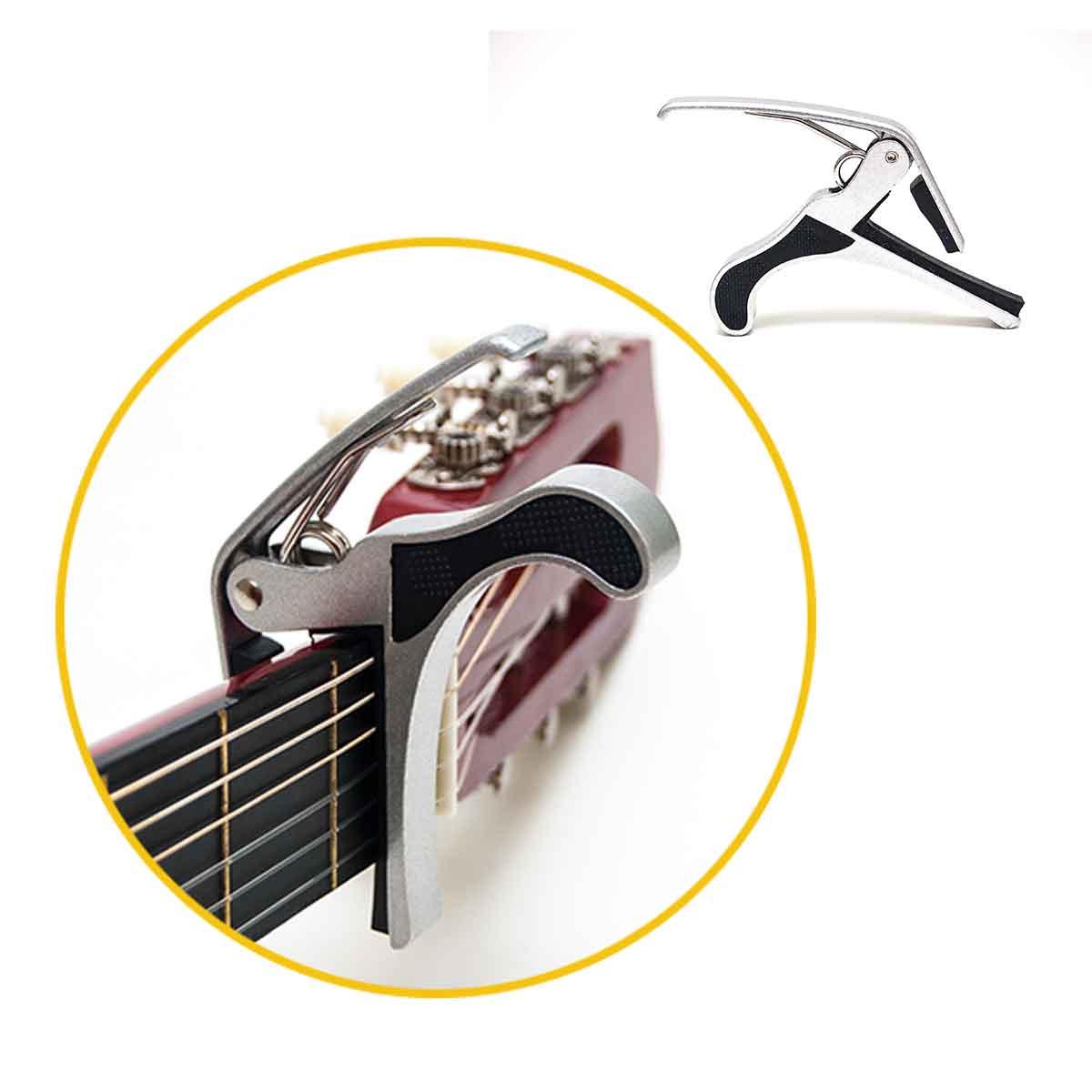 CapoTraste Prata Braçadeira Para Violão Guitarra Metal