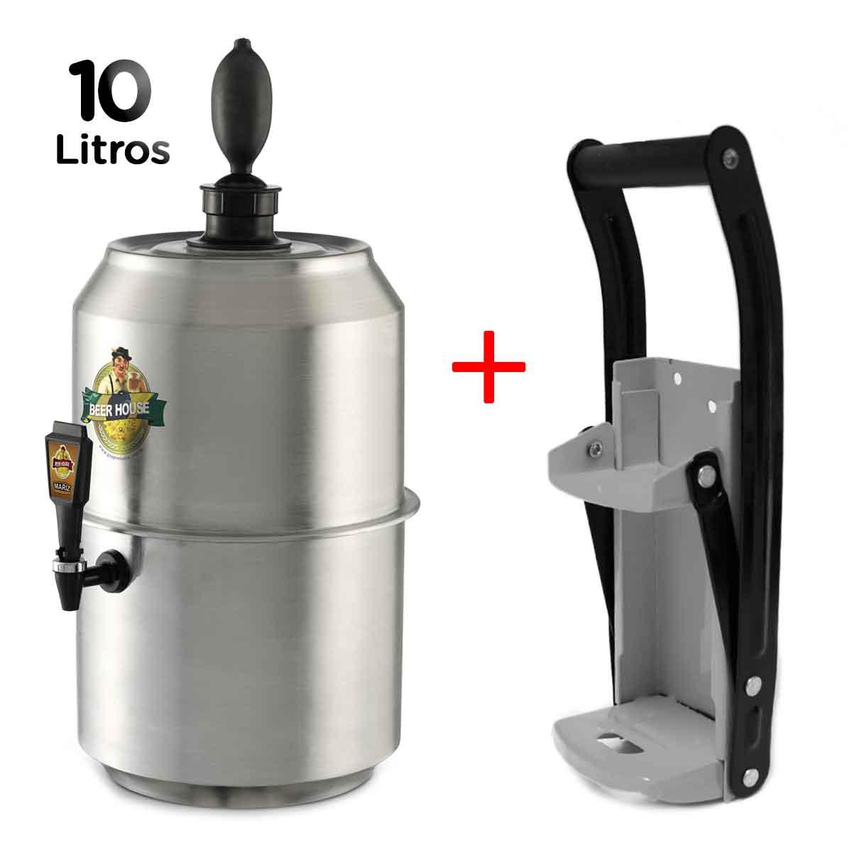 Chopeira King Beer 10L 28 Latas Cerveja + Amassador Latinha