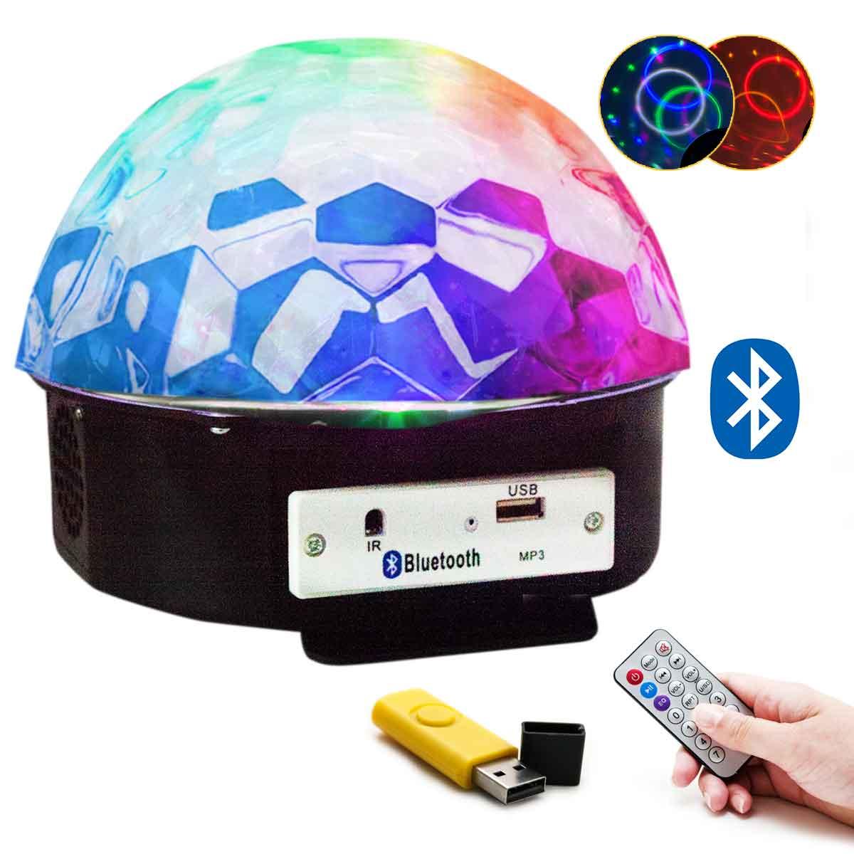 Globo Bola Maluca Bluetooth Led Cristal Rgb Mp3 Controle