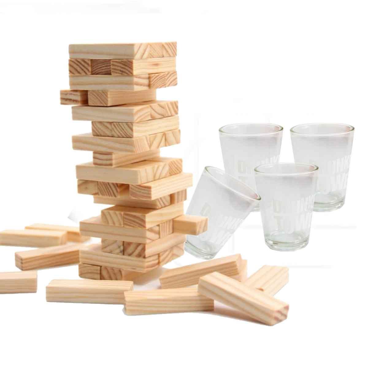 Jogo de Equilíbrio Torre Madeira Jenga + 4 copos Shot Drink