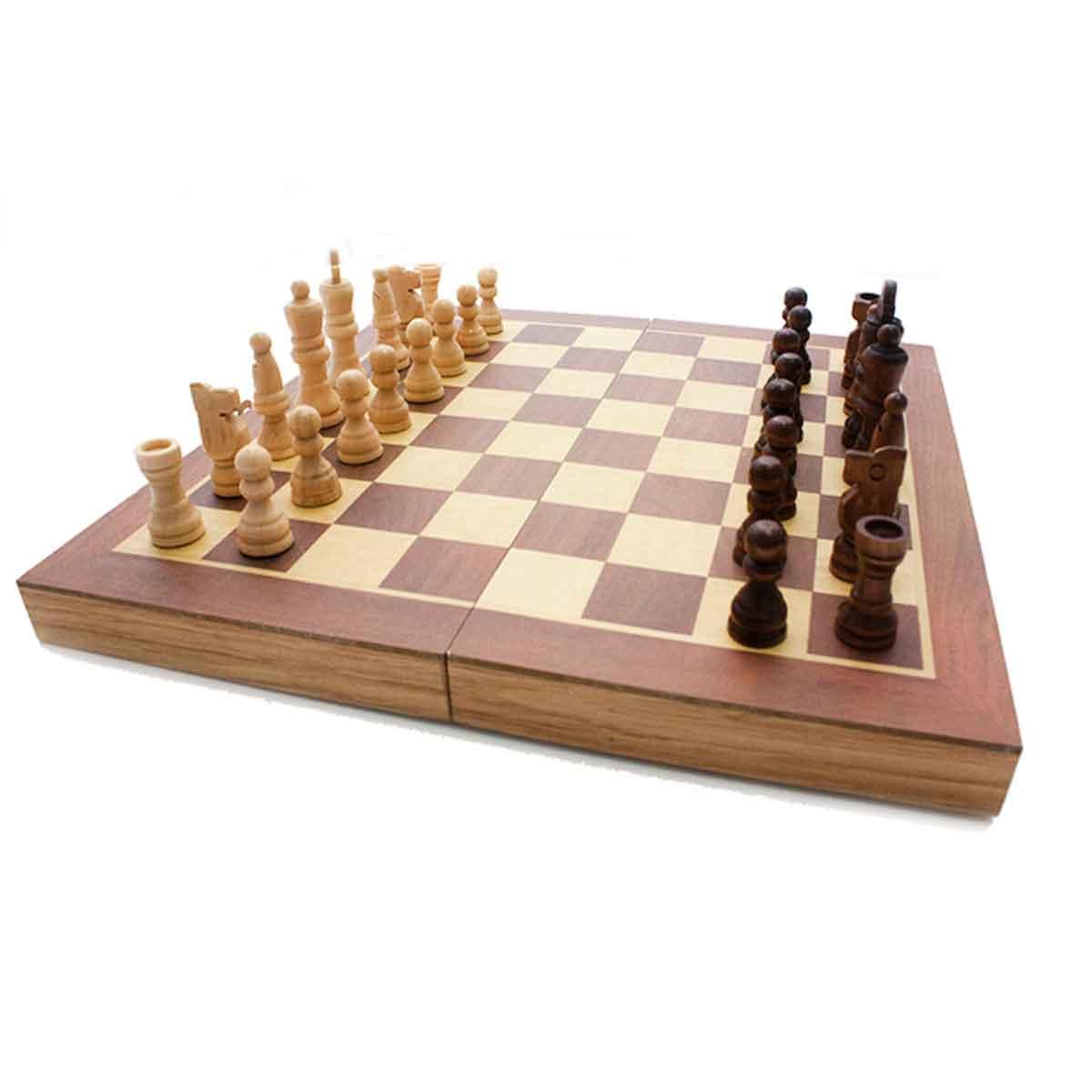 Jogo Xadrez Dama Gamão Madeira Tabuleiro 3 Em 1 40x40
