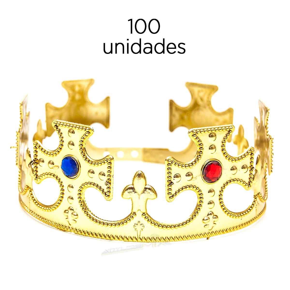 Kit 100 Coroa Rei Plástica Ajustável Festa Fantasia Cosplay