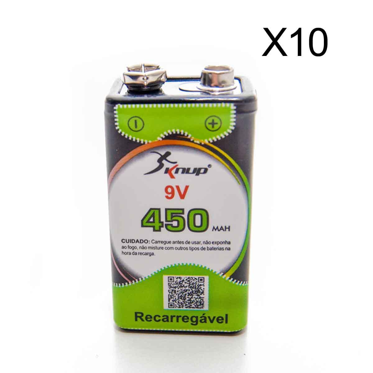Kit 10 Baterias Recarregáveis 9v 450 Mah Knup Original
