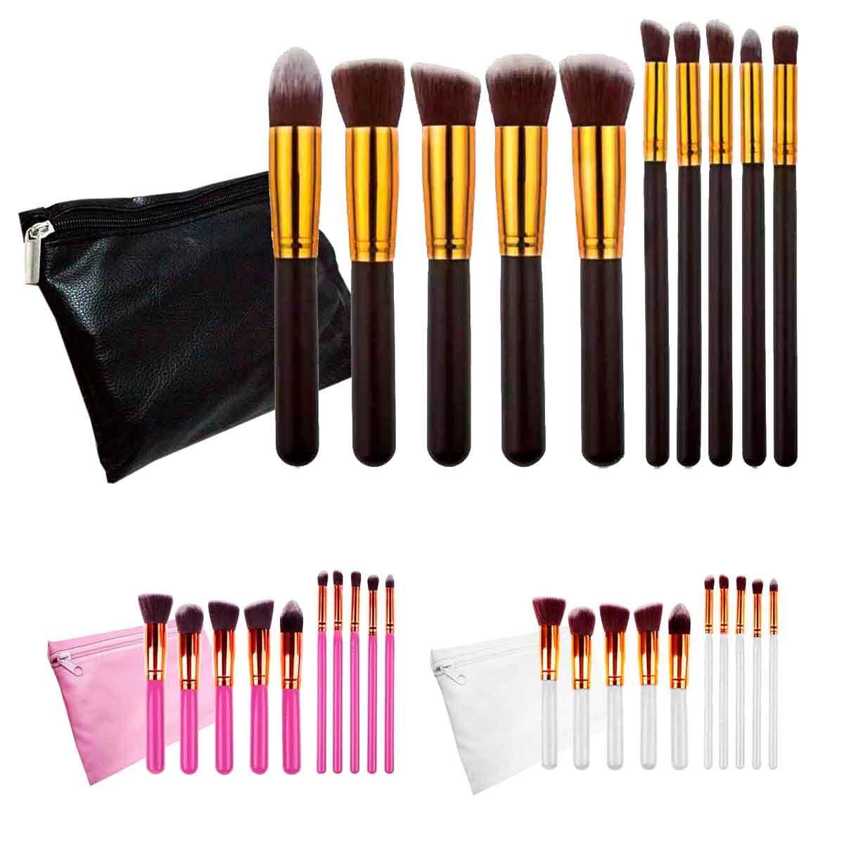 Kit 10 Pincéis Maquiagem Kabuki Estojo Profissional Blush Pó