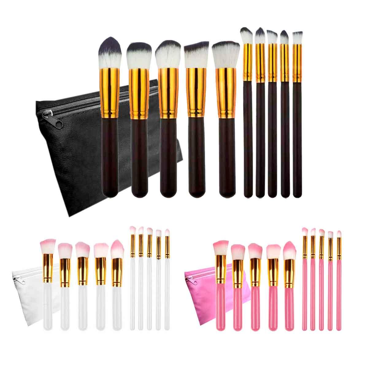 Kit 10 Pincéis Maquiagem Pincel Estojo Profissional