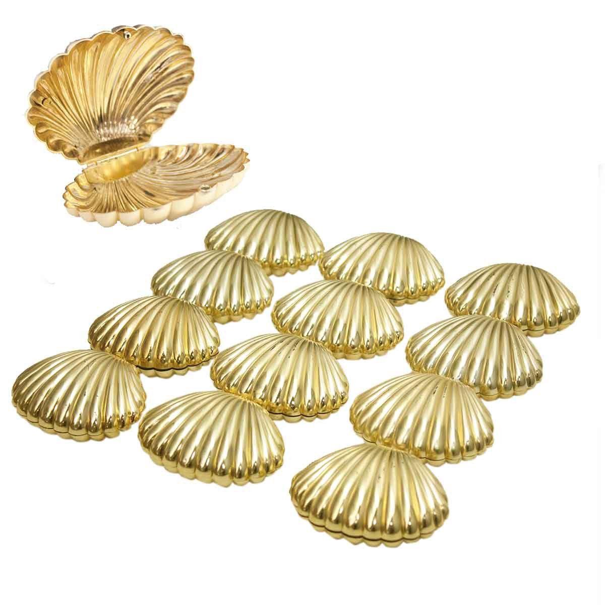 KIT 12 Conchas Lembrancinha Dourado Ariel Sereia Plástico