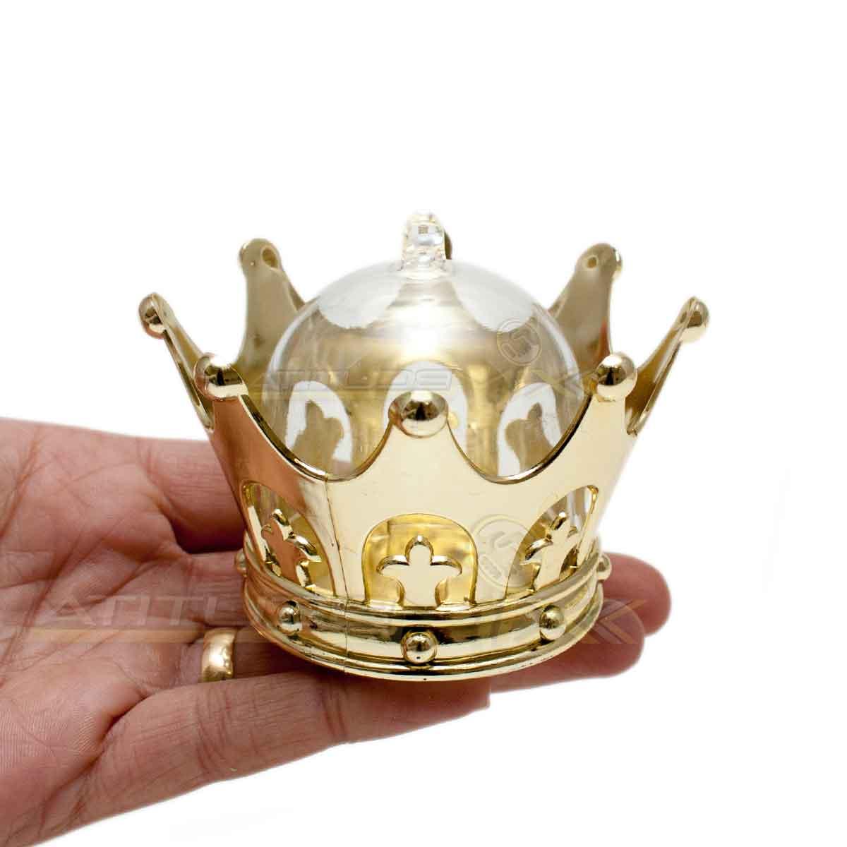 Kit 12 Cúpulas Douradas Coroa Lembrancinha Decoração Festas