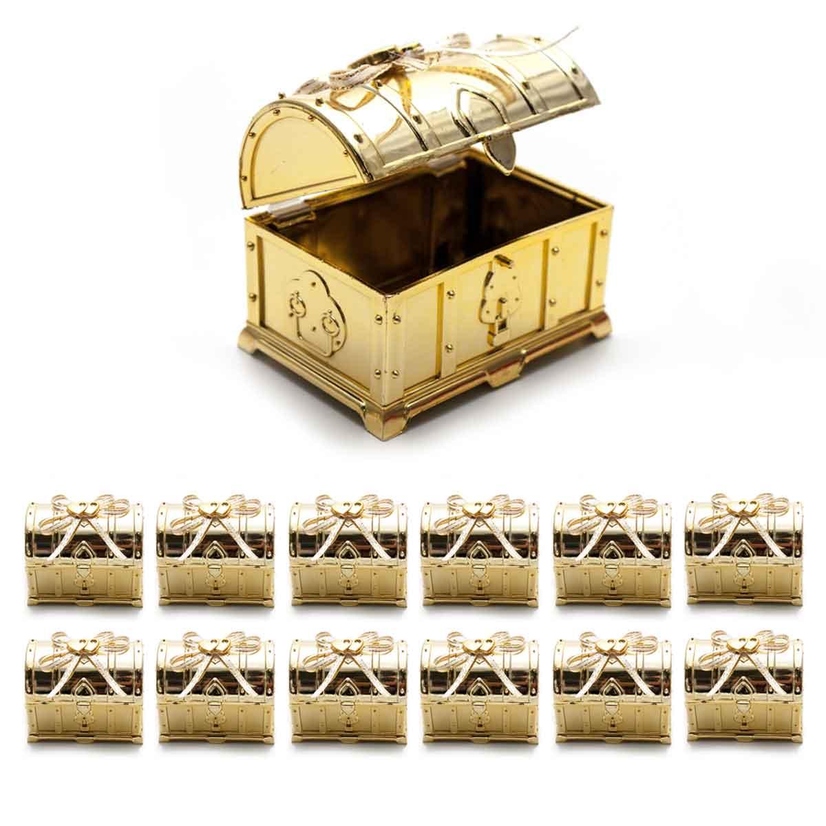 Kit 12 Mini Baú Dourado Lembrancinha Festa Decoração Laço